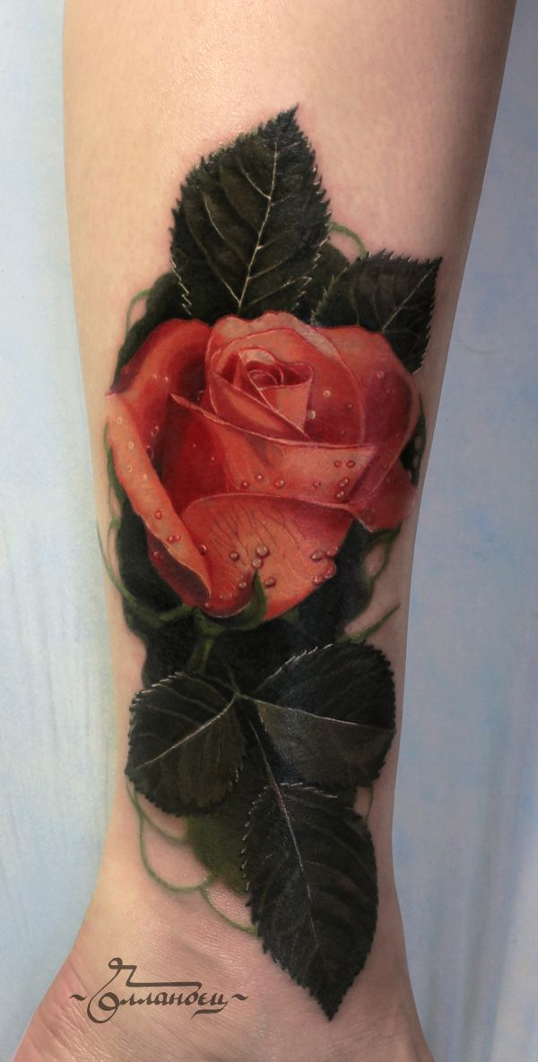 952bd2fa3 This tattoo idea is to give the appearance of a three dimensional rose as  an actual part of the arm. The rose is wet weather from rain or the morning  dew ...