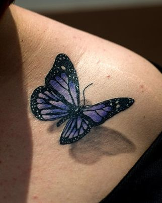 af042f957 The 3D tattoo is pretty simple but makes the back appear beautiful with all  the butterfly colors nicely painted. The tattoo has been made to appear as  if ...