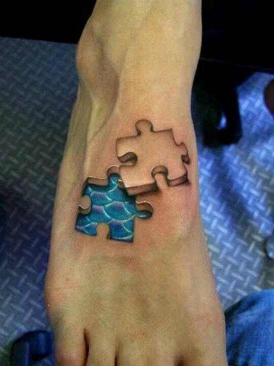 803eebbebb6fa If you love puzzles, then this is a great 3D tattoo for your feet. It will  leave people staring and as they try to fix the puzzle on your feet.