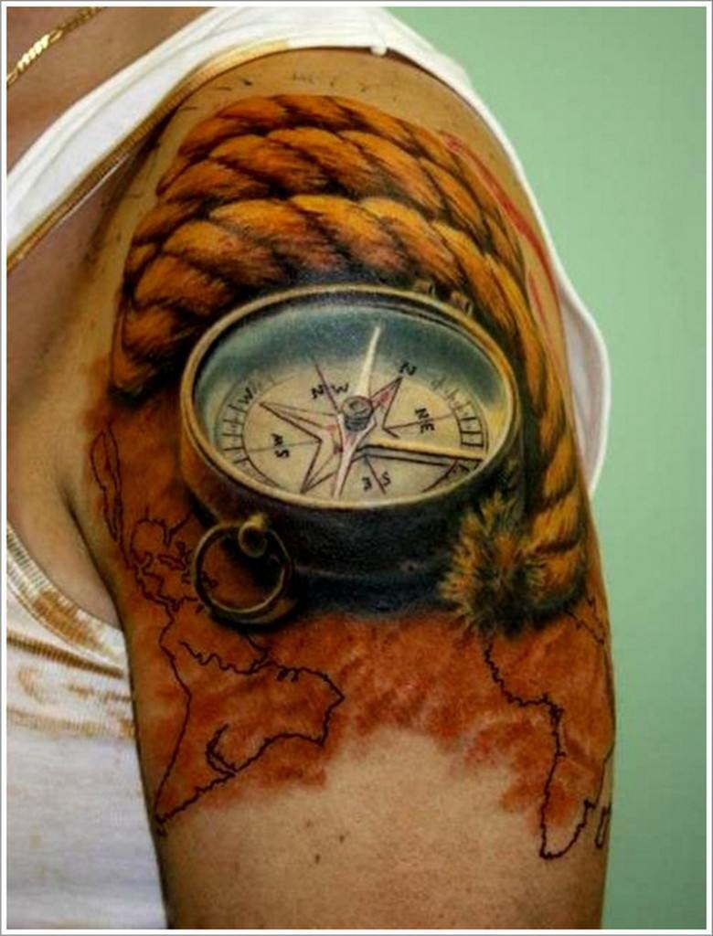 b8c9be4ac The tattoo has the image of an antique clock nicely drawn on the arm. The  clock comes with a hook and a string attached around it.