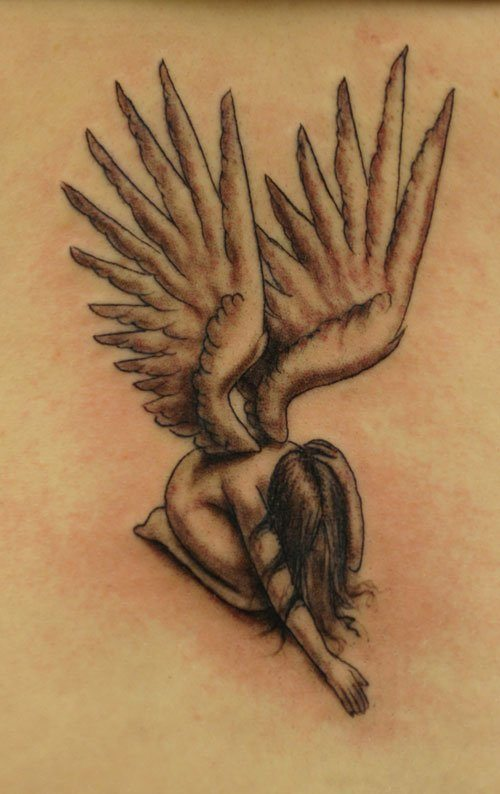 60 best angel tattoos meanings ideas and designs for 2018 for Shading tattoo pain