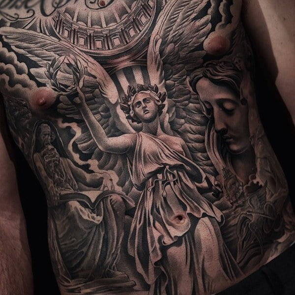 60 best angel tattoos meanings ideas and designs for 2018 for Arm mural tattoos