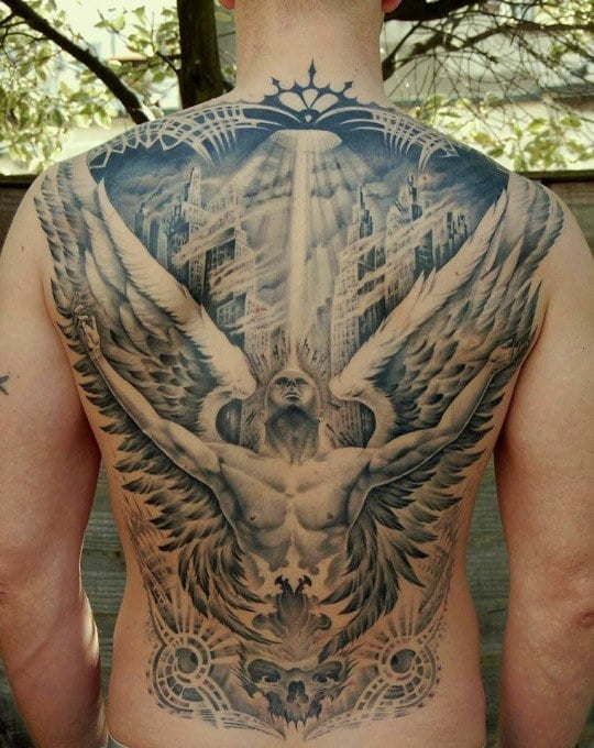 60 best angel tattoos meanings ideas and designs for 2018 for Back mural tattoo designs