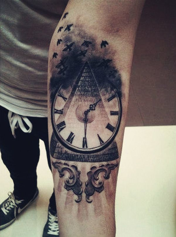 arm tattoos tattoo designs clock meanings pyramid hybrid