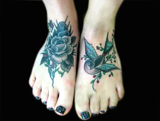 3d1966f39 Floral tattoos have great impression when decorated on feet. This is  especially true when the images cover a broad section of the feet's  forefront leaving ...