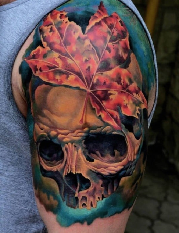60 best skull tattoos meanings ideas and designs 2018 for Color skull tattoos